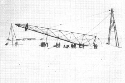 Errichtung des Luftschiffmastes