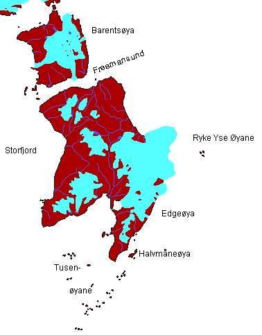 Map: Edgeøya, Barentsøya, Tusenøyane