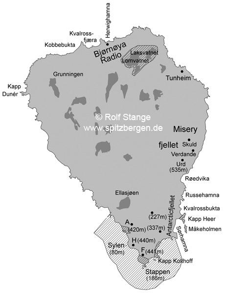 Bjørnøya; Insel; Karte; englisch; (zum Buch Spitzbergen-Svalbard; Rolf Stange)