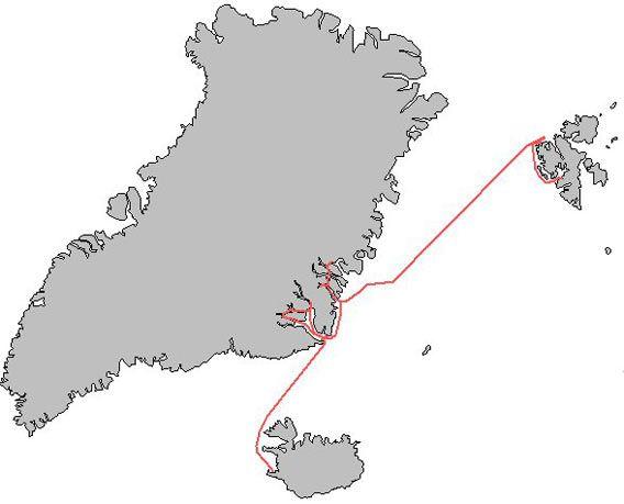 Map Spitsbergen - NE Greenland - Iceland