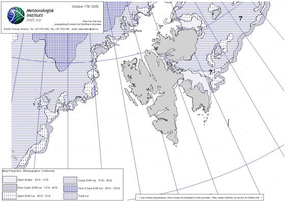 Norwegian ice chart - 17 October 2008 (© Norwegian Meteorological Institute)