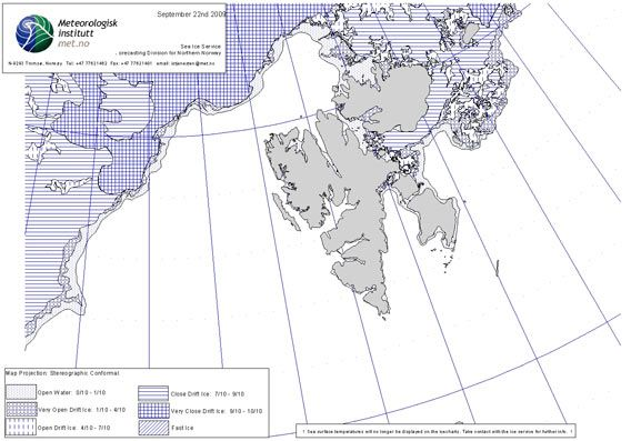 Norwegian ice chart as of 22 September 2009 (© Norwegian Meteorological Institute)