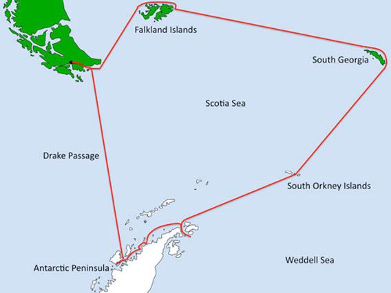 Falkland Islands, South Georgia, Antarctica - Map
