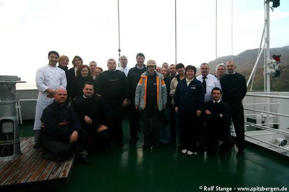 HRH and TL with crew and staff of MV Grigoriy Mikheev