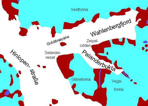 Karte Wahlenbergfjord, Palanderbukta