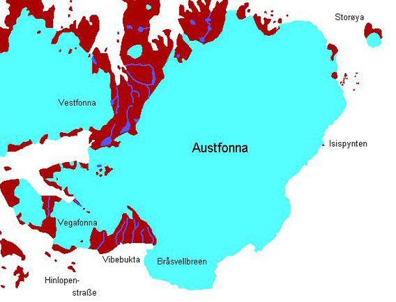 Karte Bråsvellbreen und Austfonna