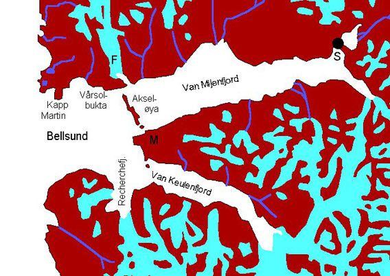 Map: Bellsund - Van Mijenfjord - Van Keulenfjord