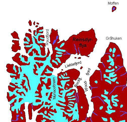 Karte Nordwest-Spitzbergen: Raudfjord, Liefdefjord, Woodfjord