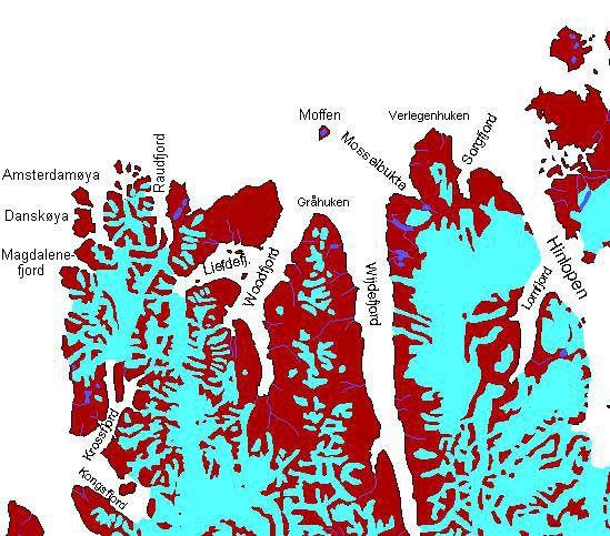 Karte Spitsbergen, nördlicher Teil