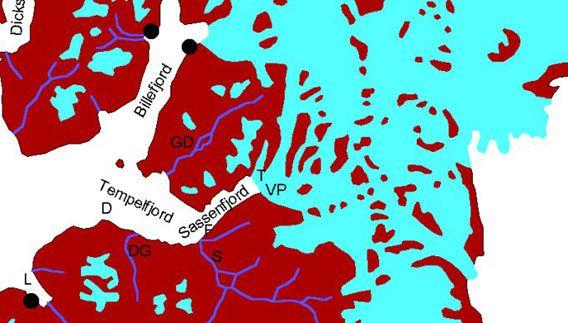 Kart: Tempelfjorden - Sassenfjorden