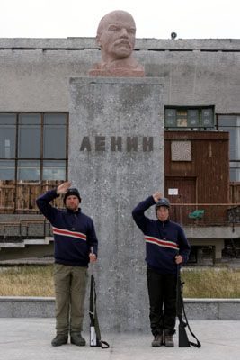 And comrade Lenin together with comrades polar bear guards in Pyramiden