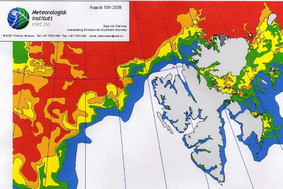 Norwegian ice chart as of 10 August 2009 (© Norwegian Meteorological Institute)