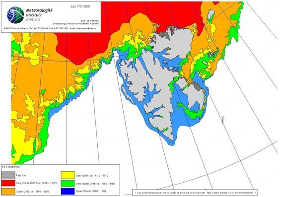 Ice chart as of 17th July 2009 (© Norwegian Meteorological Institute)