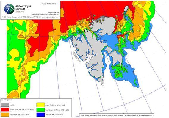 Ice chart 08 August 2008 (© Norwegian Meteorological Institute)