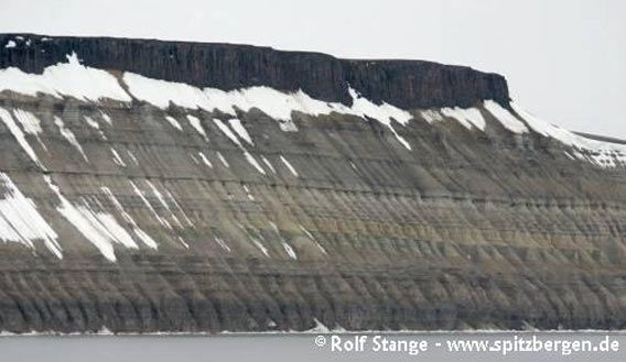 Near-horizontal layers of sediments (Permian carbonates) in the entrance area of Wahlenbergfjord (Nordaustland), dolerite on top (dark, vertical cliff)