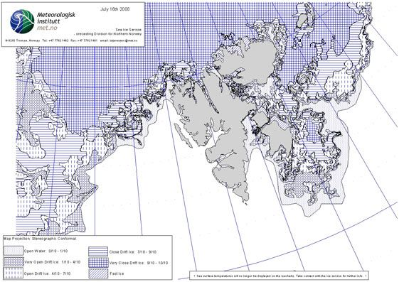 Ice chart 16 July 2008 (© Norwegian Meteorological Institute)