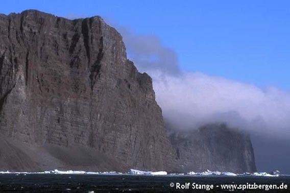 Basalt cliffs at the Blosseville Coast (outer coast south of Scoresbysund) near Nansen Fjord