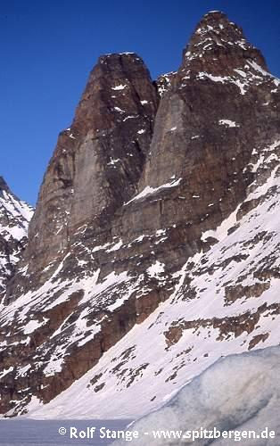 Steep rockwalls created by ice-age glaciers in the Mariager Fjord, Liverpool Land
