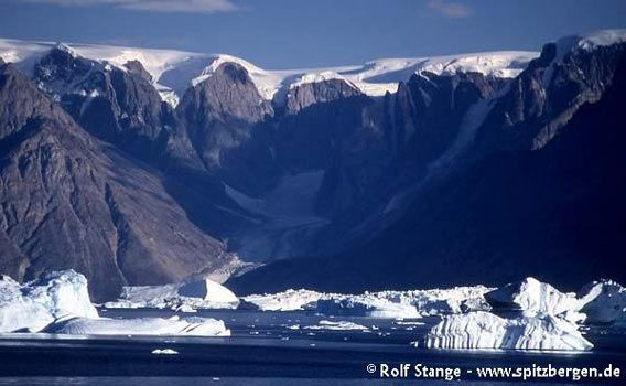 High plateau more than 1000 metres high, dissected by glacial valleys and fjords. Western Milne Land