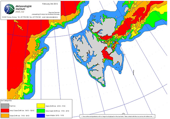 Hardly any drift ice around Spitsbergen