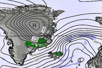 Spitsbergen weather - High pressure over Greenland and Spitsbergen.