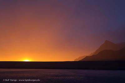Sunset, west coast of Spitsbergen, September