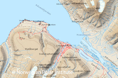 Digital Svalbard map Spitsbergen freely available from 2015