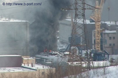 burning nuclear submarine Krasnodar near Murmansk