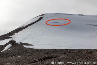 Gletscherspalte am Nordenskiöldfjellet bei Longyearbyen