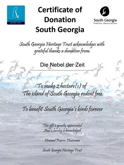 Die Nebel der Zeit: support the South Georgia Habitat Restoration Project