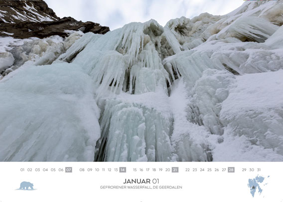 Spitsbergen-Calendar 2018: January. Frozen waterfall