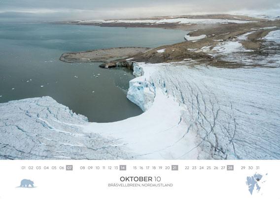 Spitsbergen-Calender 2018: October. Bråsvellbreen, Nordaustland from a bird's eye view.