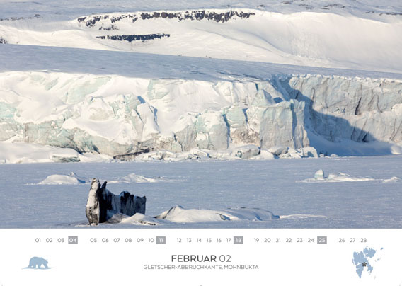Spitsbergen-Calendar 2018: February. Ice-landscape on the east coast