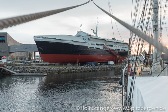 Soon free from diposable plastic: Hurtigruten museumsship in Stokmarksnes