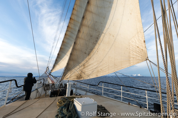 SV Antigua under sail to Harstad