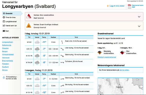 Longyearbyen Sturm Lawinengefahr