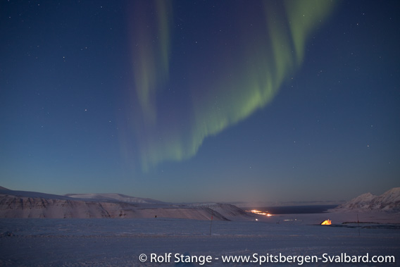 Polar night and northern light in Adventdalen