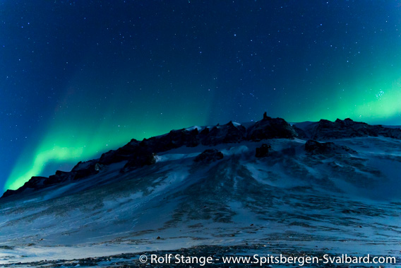 Polar night and polar light near Longyearbyen