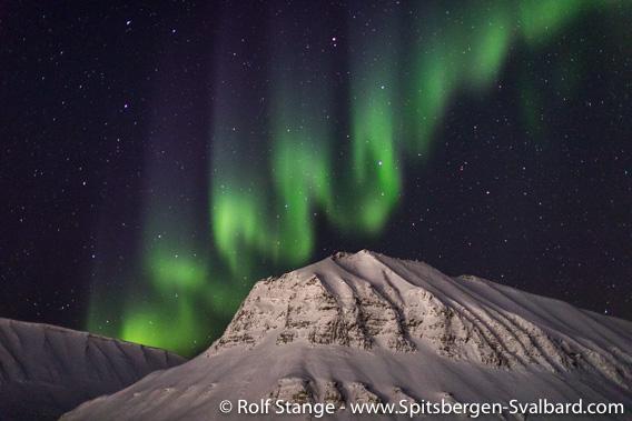 Northern light above Sarkofagen, Longyearbyen