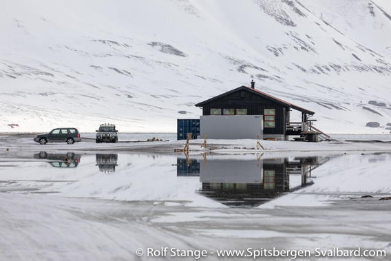 Snow melting at Longyearbyen Camping, mid April