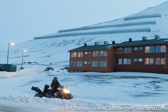 Avalanche barriers on Sukkertoppen close to Longyearbyen