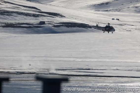 Hubschrauber und Eisbär