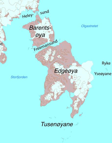Karte: Edgeøya, Barentsøya, Tusenøyane