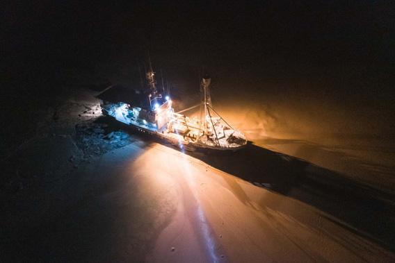 Schiff Lance im Eis