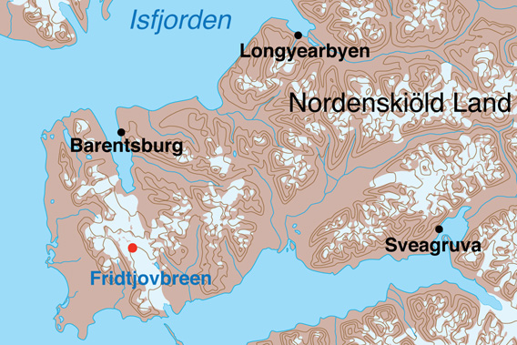 Avalanche accident at Fridtjovbreen, February 2020: map