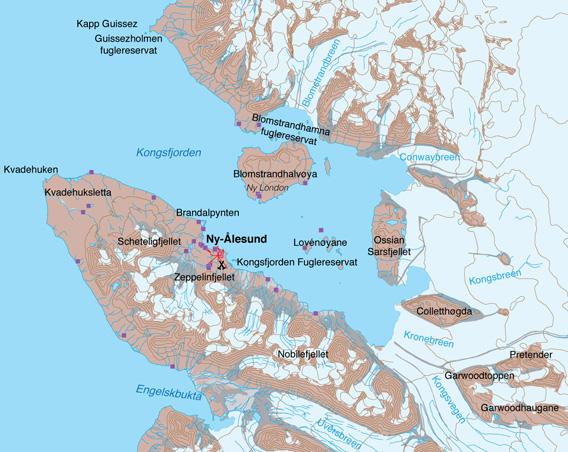 Kart over Kongsfjorden