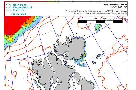 Ice chart Spitsbergen, 1st October 2020