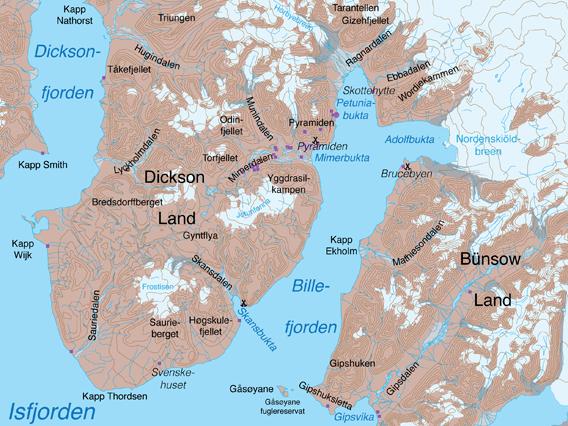 Karte Dickson Land, Billefjord