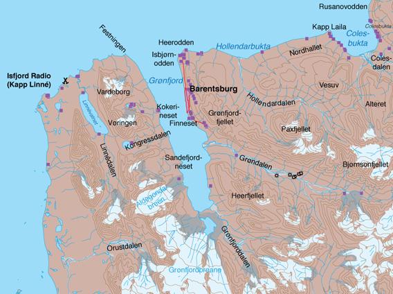 Karte: Grønfjord-Colesbukta