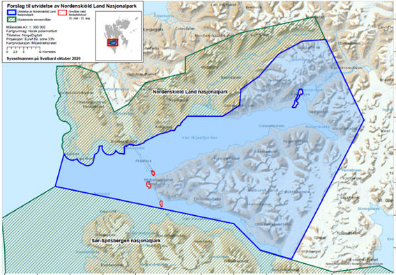 Nordenskiöld Land Nationalpark: geplante Ausweitung